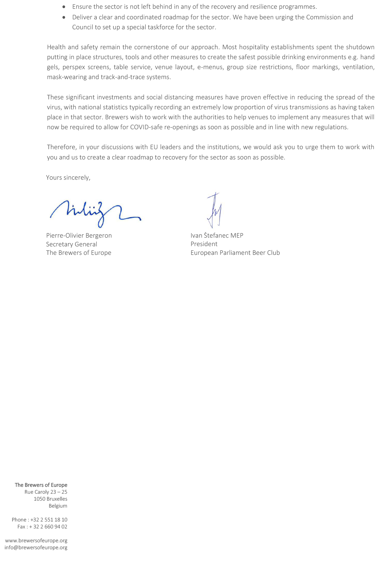 Letter to social partners to urge EU leaders to agree a clear roadmap to recovery for the brewing & hospitality sector - page 2